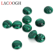 Fashion 20pcs/lot Dia 6 8 10 12mm Round Flatback Stone Cabochons Beads Natural Green Malachite for DIY Jewelry Makings
