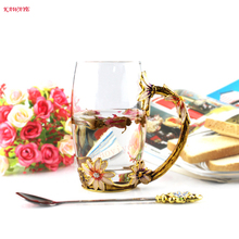 1Set Creative Cup Coffee Mug With Spoon Novelty Flower Tea Glass Cups Breakfast Milk Coffee Tea Porcelain Cup 5ZDZ419 twinings english breakfast tea 2 g x25 sachets