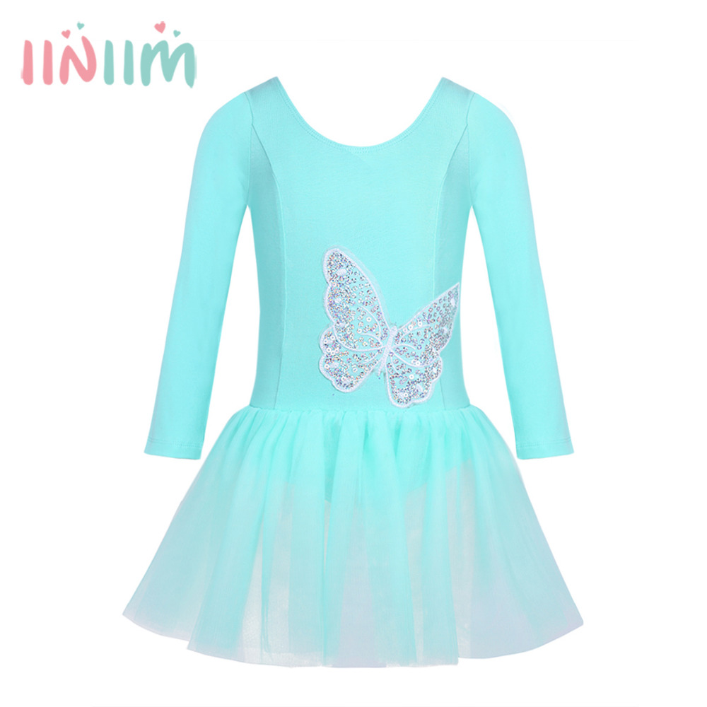 Girls Cotton Tulle Long Sleeves Sequined Butterfly Dancewear Ballet Dance Gymnastics Leotard Dress Professional Tutu Cute Dress недорго, оригинальная цена