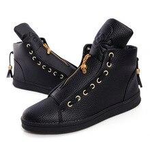 Esdy otoño invierno zip planos ocasionales de los hombres de inglaterra zapatos de moda de cuero de la pu de la borla de zapatos de los hombres negro blanco tamaño 39-44