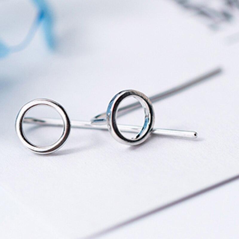 INZATT Real 925 Sterling Silver Minimalist Round Stud Earrings For Fashion Women Fine Jewelry 2019 Geometric Accessories