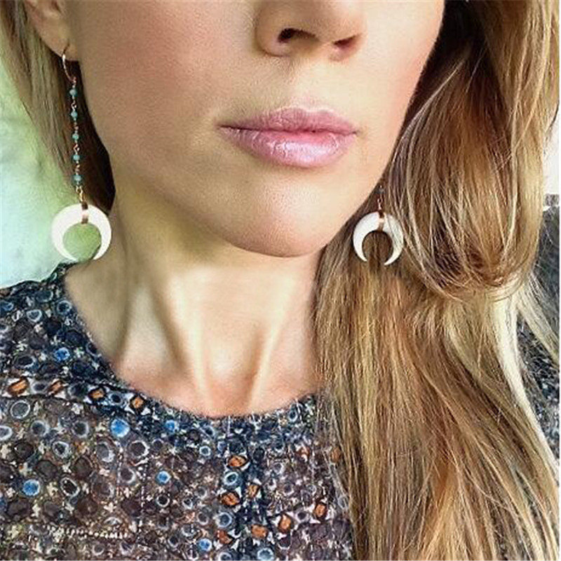 Qilmily Handmade Winding Wire Ox Horn Dangle Earrings for Women Gold Color Long Drop Statement Earrings Fashion Jewelry Gifts