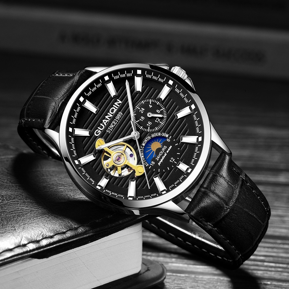 Top Brand GUANQIN Mechanical Watches Men Tourbillon Automatic Watch with Moon phase 24hours Luminous Leather Mens Wrist Watch|Mechanical Watches| |  -