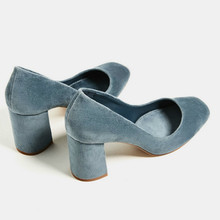 Women Vintage Velvet Chunky High Heels Pumps Square toe Ladies Shoes Low Cut Slip on Shoes