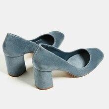 Women Vintage Velvet Chunky High Heels Pumps Square toe Ladies Shoes Low Cut Slip on Shoes