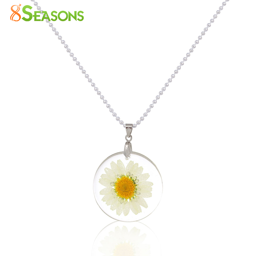 8SEASONS Handmade Boho Transparent Resin Dried Flower Daisy Necklace Ball Chain Silver Color White Round 45cm long, 1 Piece