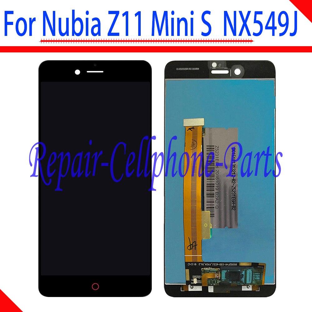 Preto 100% Novo Monitor LCD Full + Tela de Toque Digitador Assembléia Para ZTE Nubia Z11 Mini S NX549J TD-LTE Frete grátis