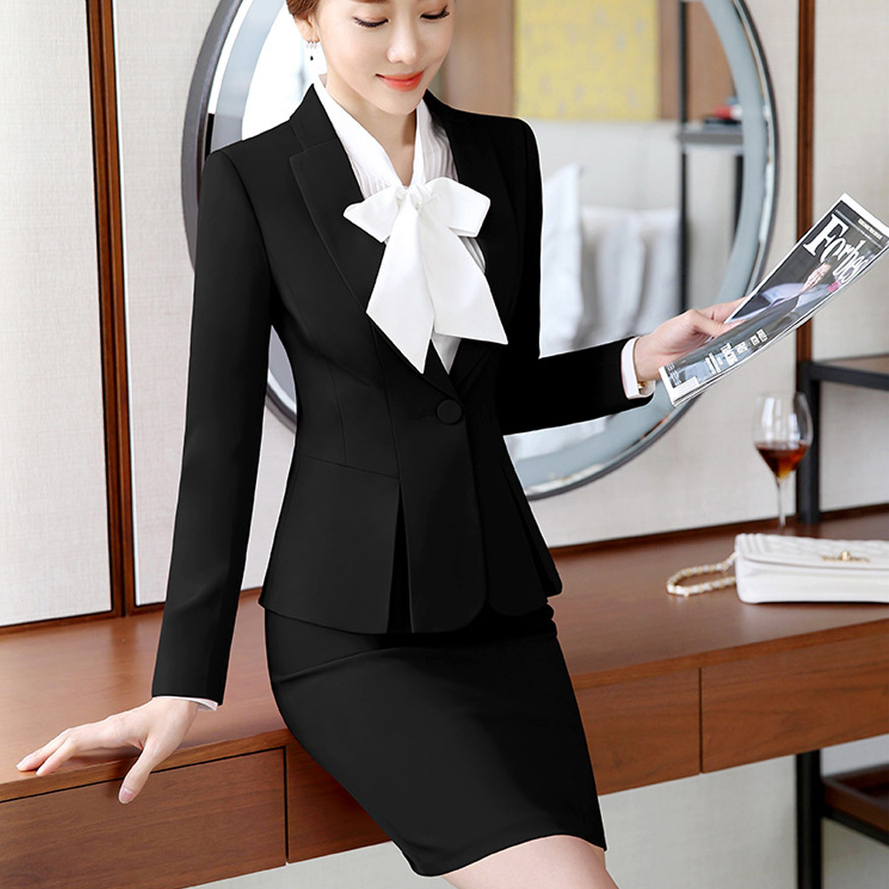 Fashion Womens Formal Suits Office OL Uniform Designs Long-sleeve Blazer With Skirt Suits Work Wear 2 Piece Sets Plus Size 2019