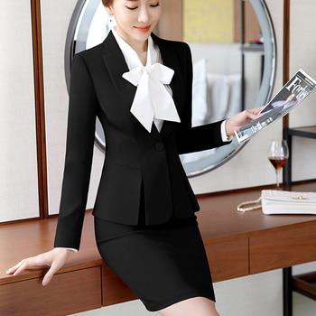 Moda mujer formal trajes Oficina OL uniforme diseños de manga larga chaqueta  con trajes de falda ropa de trabajo 2 piezas conjuntos más tamaño 2019 30ad092a89f2