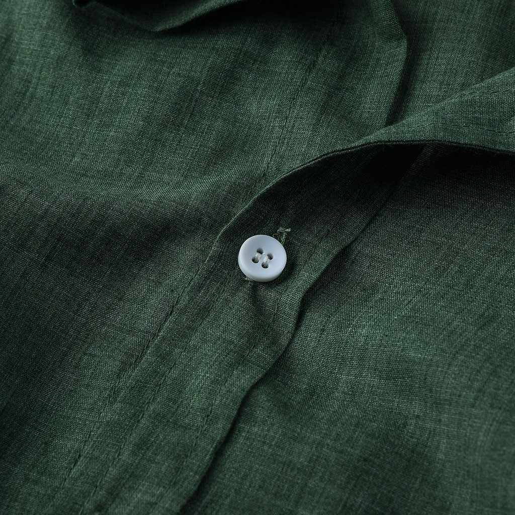 리넨 셔츠 남자 여름 녹색 셔츠 사회 신사 셔츠 남자 울트라 얇은 캐주얼 셔츠 영국 패션 의류 Chemise 가기