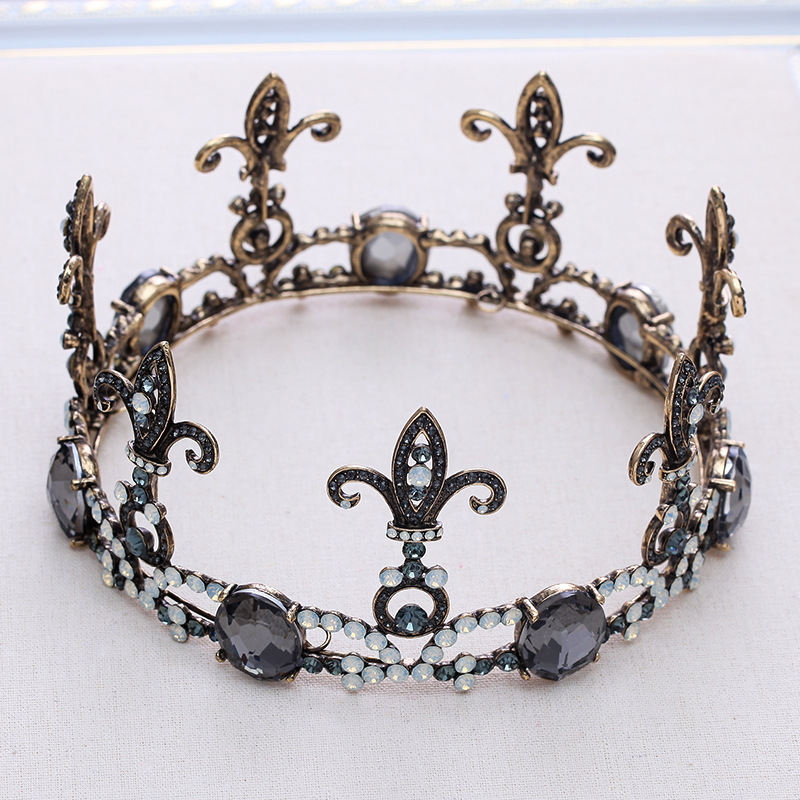 Vintage Gold Wedding Hair Accessories Crystal Rhinestone Tiaras Crowns Bridal Round Crowns Hair Jewelry For Women Headbands