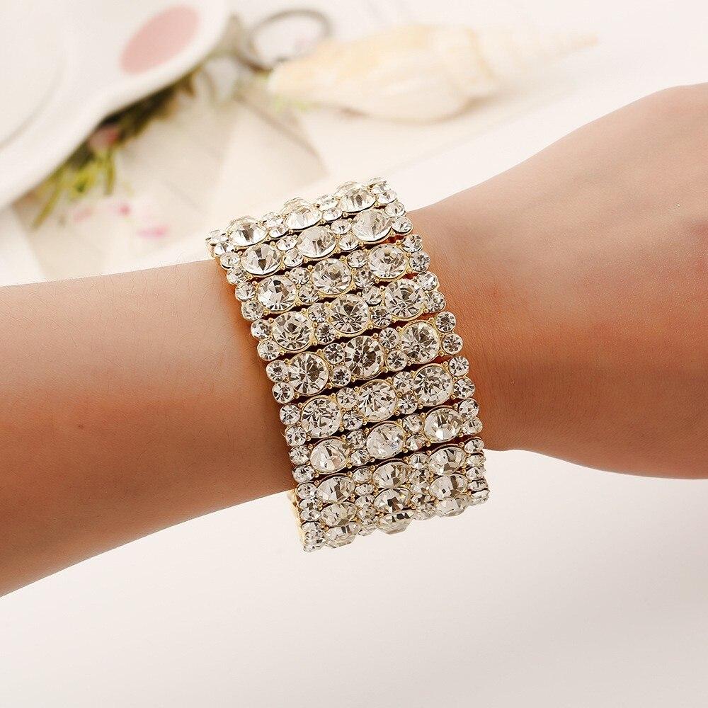 Moda de luxo strass cristal liga pulseira