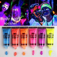 6 Sztuk Świetlistego Ciała Makijaż Malowanie kolorowe Rysunek Smar Pigmentu Farby Twarzy Sztuki Glow Flash Fancy Party Farby kolor losowo D3