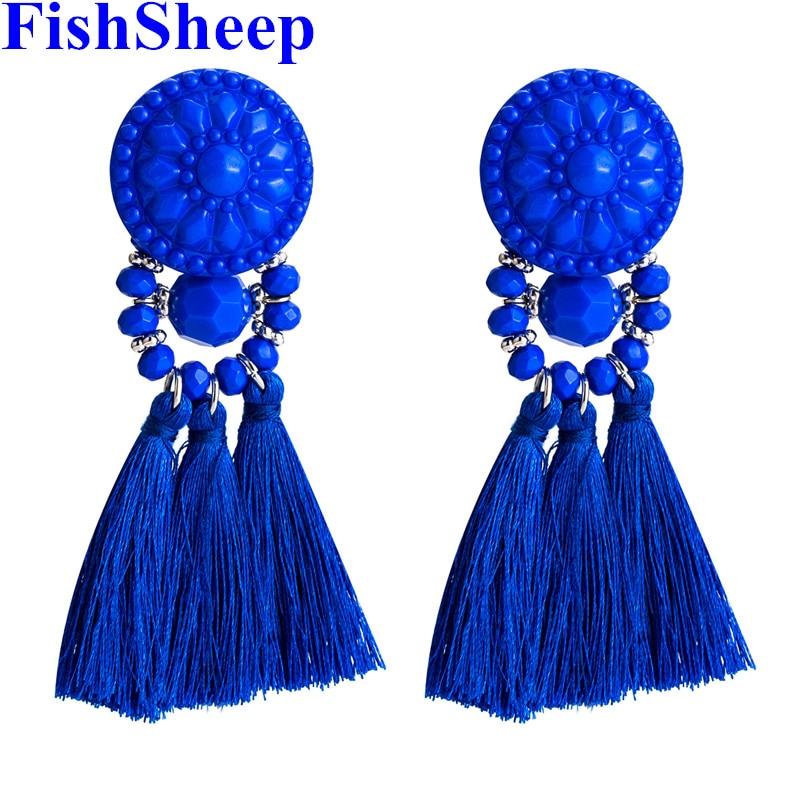 FishSheep Bohemian Long Tassel Earrings Women Gold Color Ethnic Acrylic Fringe Dangle Drop Earring 2018 Statement Party Jewelry(China)