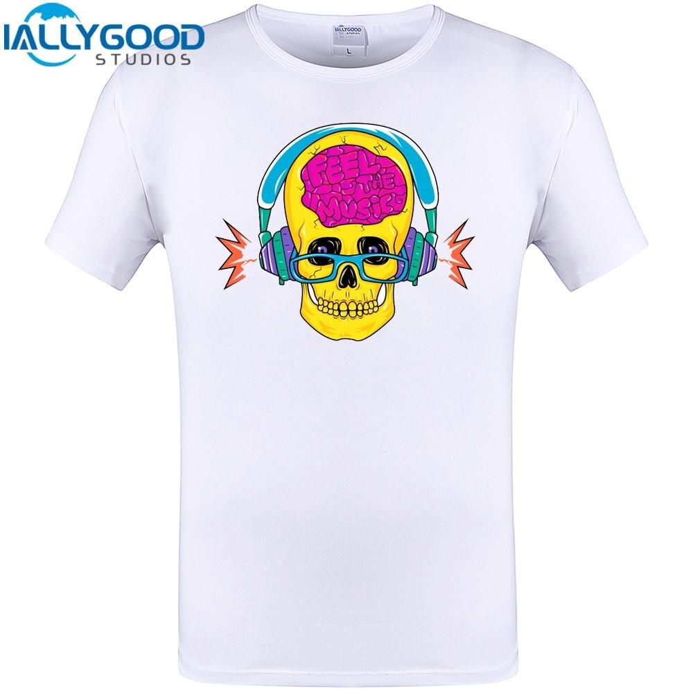 Cool skull feel the music print mens fashion t shirt short for T shirt design sleeve print