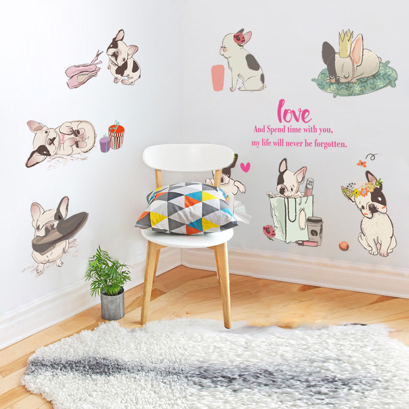 Lovely french bulldog wall stickers home decor living room bedroom decal diy art mural wallpaper removable wall stikcer