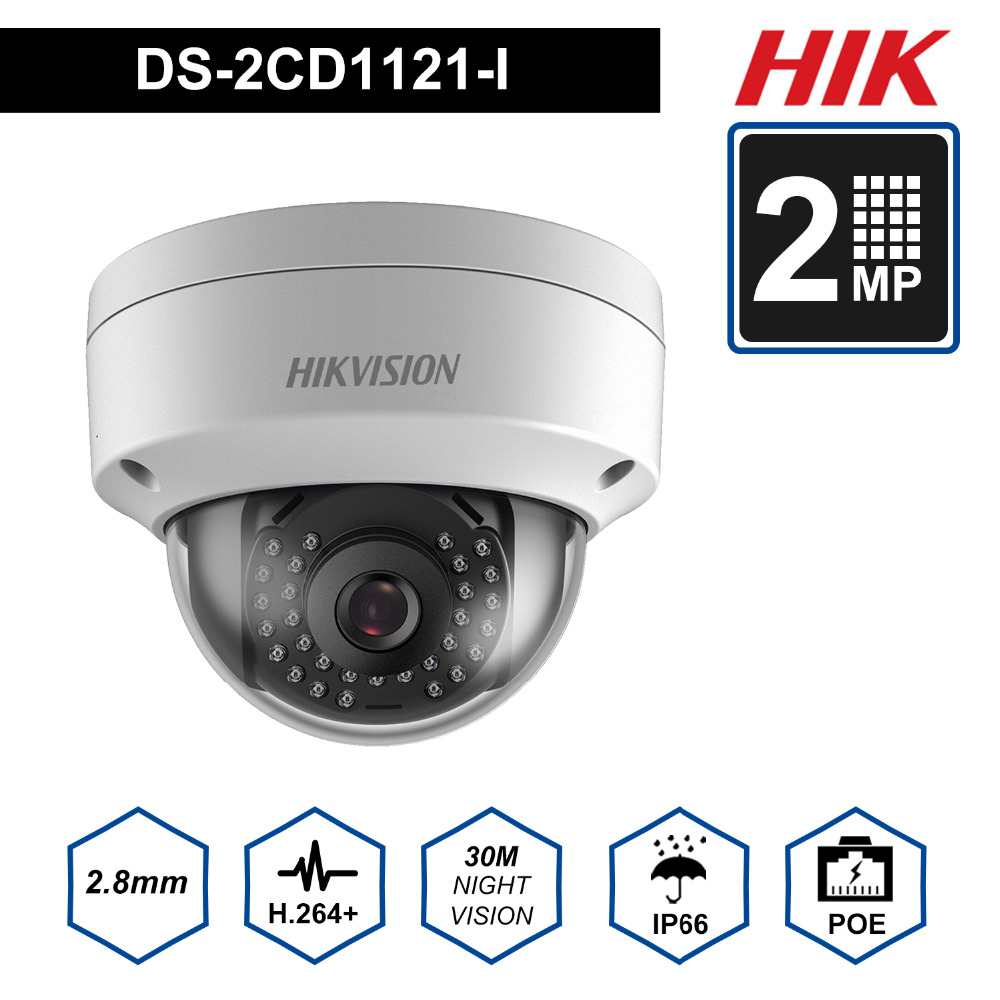 Hik Original Security Dome Camera DS-2CD1121-I 2MP CMOS PoE IP Camera outdoor DS-2CD1121-I with DWDR IP 67 No SD card SlotHik Original Security Dome Camera DS-2CD1121-I 2MP CMOS PoE IP Camera outdoor DS-2CD1121-I with DWDR IP 67 No SD card Slot
