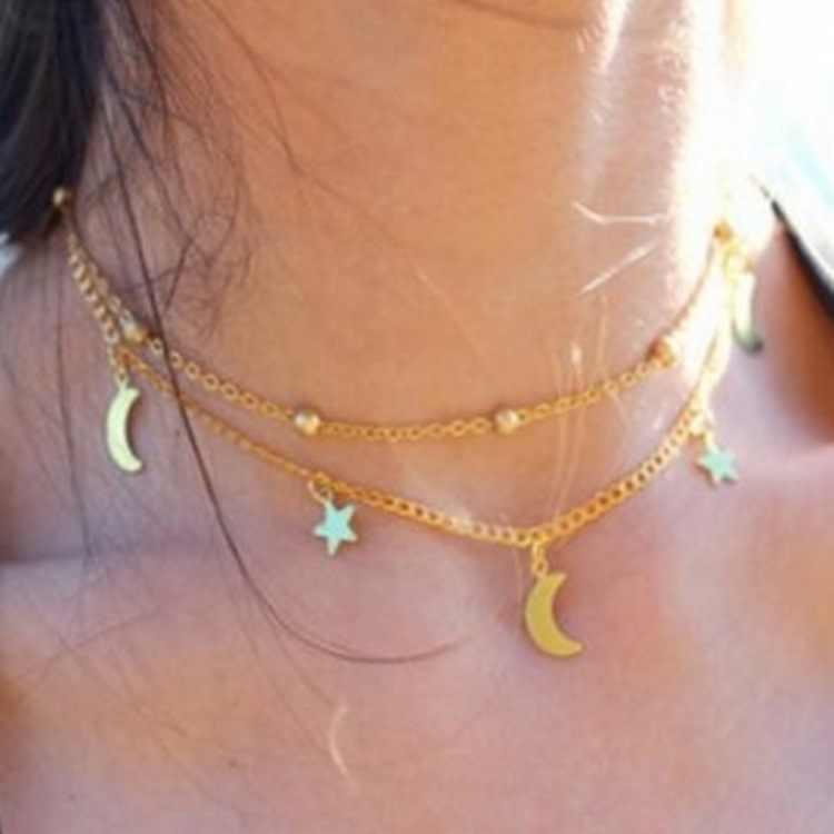 Collier en gros Punk 2018 nouveau collier de mode or/argent Simple Double lune étoile collier court vente Acero inoxydable Mujer