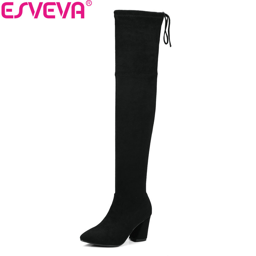 ESVEVA 2018 Women Boots Slim Look Boots Square High Heel Round Toe Over The Knee Boots Pointed Toe Sexy Ladies Boots Size 34-43 esveva 2017 western style flock women boots over the knee boots winter square high heel ladies lace up fashion boots size 34 43