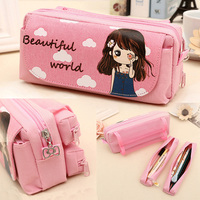 Cute Kawaii School Bag Sweet Girl Pink Pencil Case Large Capacity Student Kids Gift Anime Cloth Cosmetic Bag Stationery Supplies