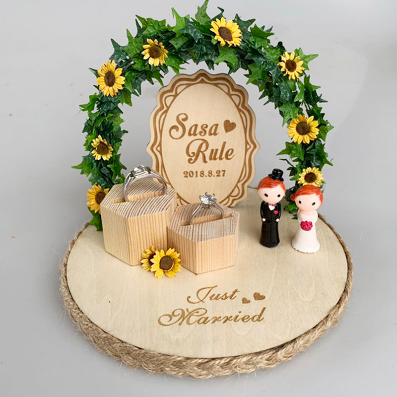 personalized Forest creative party decoration flower custom engagement rings box wedding ring pillow