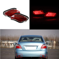 2PCS Car LED Rear Bumper Reflectors Light Brake Parking Warning Tail Fog Lights For Toyota Yaris