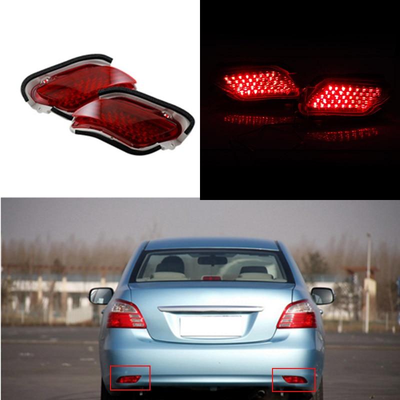 2PCS Car LED Rear Bumper Reflectors Light Brake Parking Warning tail Fog Lights For Toyota Yaris/Vios Sedan 2010 2011 2012