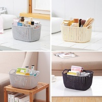 Rectangle Imitation Rattan Basket Container Box Woven Fruit Food Vegetables Bread Storage Organizer For Home Kitchen