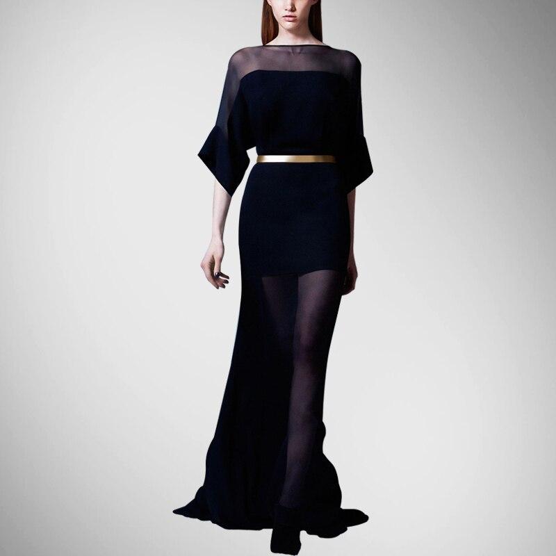Rushed Natural Sashes Flare Sleeve Solid Half Silk Dresses Women Long Dress The New Summer Bodysuit Womenof High end Custom