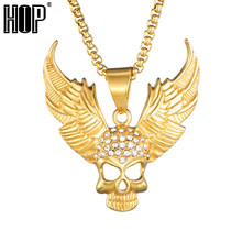 HIP Hop Personality Halloween Accessories Rhinestone Skull Wing Stainless Steel Necklaces For Men Fashion Kolye(China)