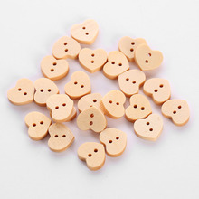 24Pcs Wooden Love Heart Shape Buttons Natural Color 2 Holes Multifunction Wedding Decoration Sewing Dress Accessories