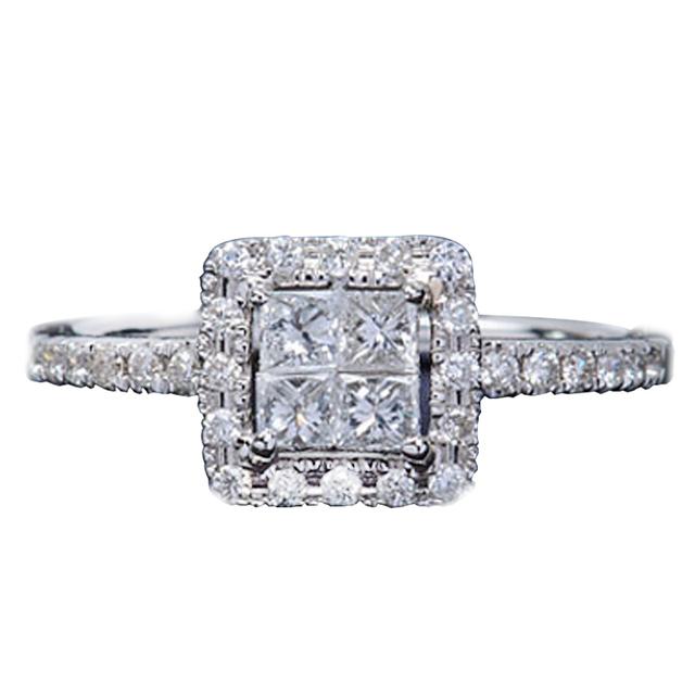 Real Diamond 18K White Gold Wedding Engagement Ring