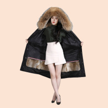 Winter Womens Jacket Raccoon Fur Natural Collar Long Sleeve Fox Rex Rabbit Feather Lining