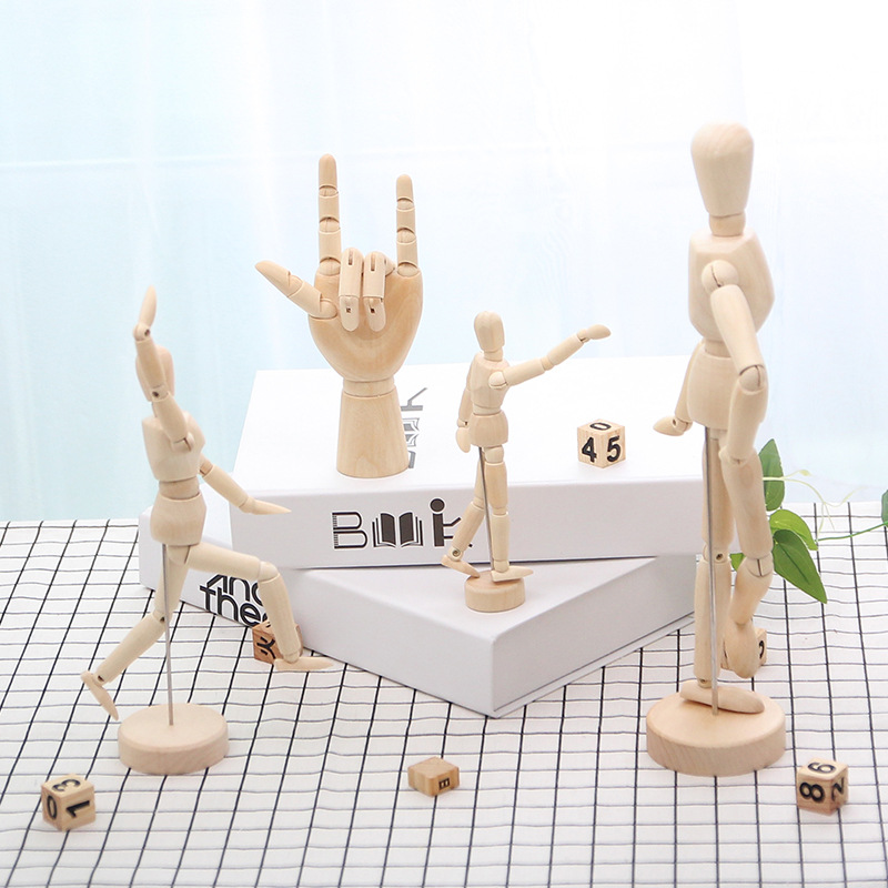 MRZOOT European Wooden Doll Joint Hand Birthday Gift Model Creative Home Small Display Desk Decorations Ornaments