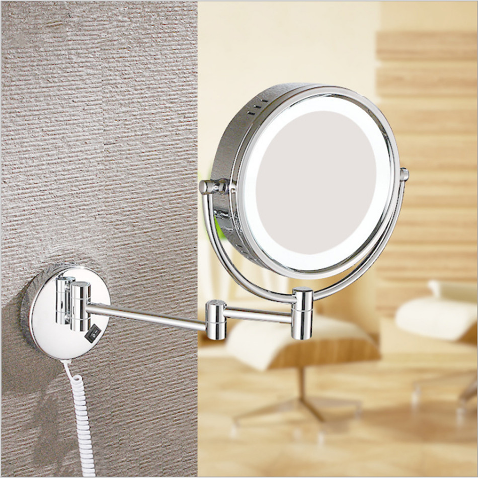 1X/3X Magnifying Double-sided LED Makeup Mirror Table 8 Inch Wall-mounted folding cosmetic mirror copper material подвесная люстра reccagni angelo l 9250 6