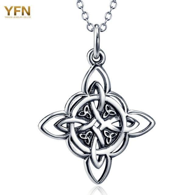 YFN Genuine 925 Prata Esterlina Jóias Símbolo Colar de Jóias Colar de Pingente de Prata Antigo Nó Trindade Espiritual