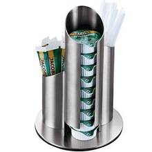 Stainless steel coffee milk sugar dispenser rack storage tea straw stirring rod storage shelf