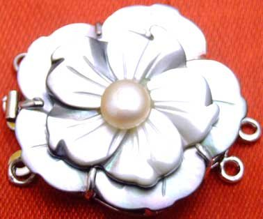 Big 35mm Two layers Flower Sea Shell and 6mm pearl Three strands Clasp-gp09 wholesale/retail Free shipping
