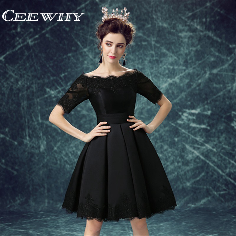 Black   Dress   Short   Cocktail     Dress   Embroidery Evening Party   Dress   Above Knee Homecoming   Dress   Bridal Banquet Vestido de noiva