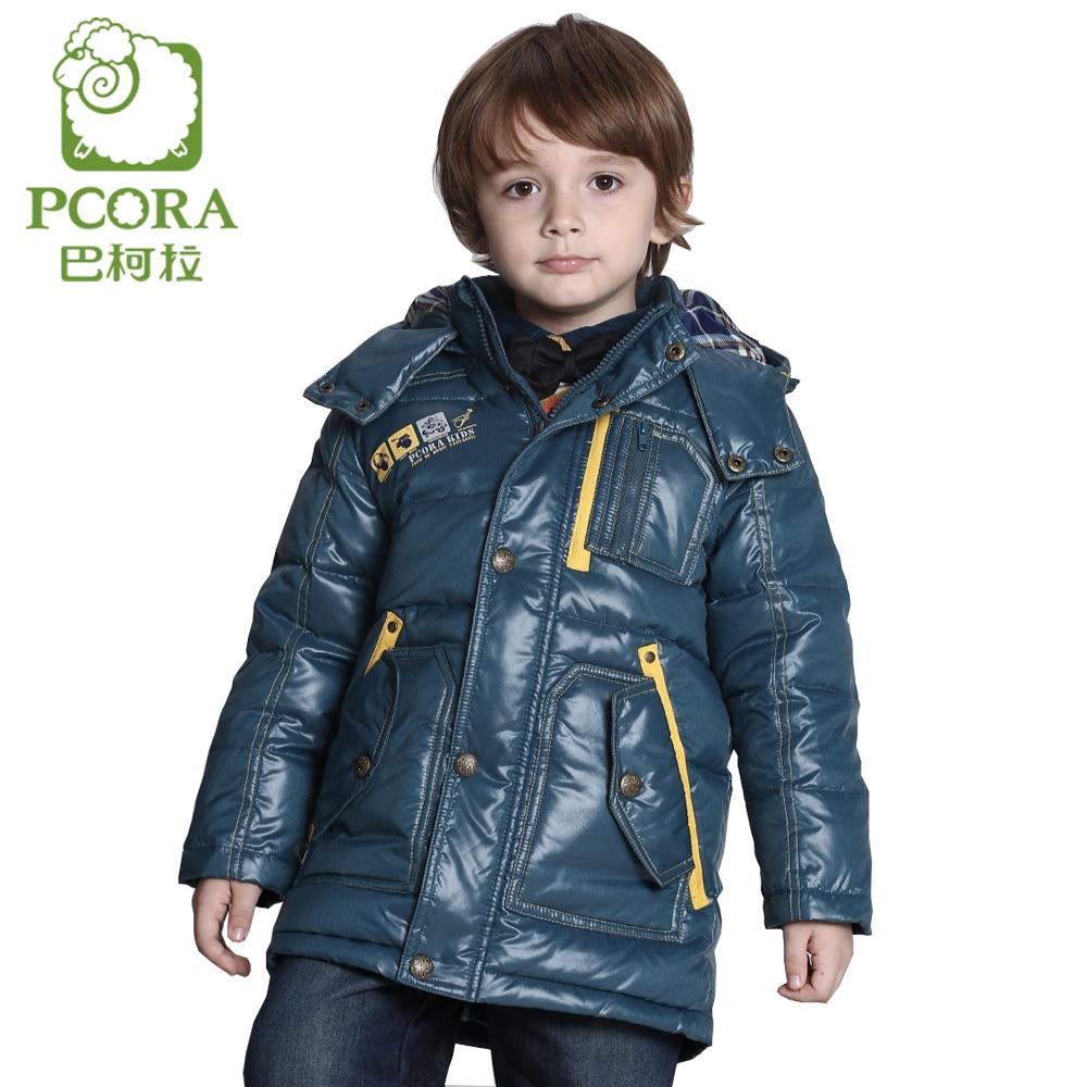 PCORA Boy Winter Jacket 90% White Duck Down X-Long Zipper Kids Down Coat Detachable Cap Keep Warm 3 Colors Available Boys Parkas
