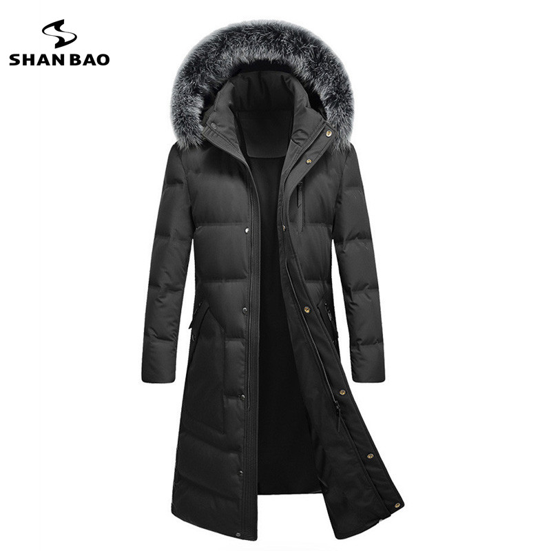 2017 winter brand high quality mens fashion casual long section down jacket fox fur collar hood parka coat black green