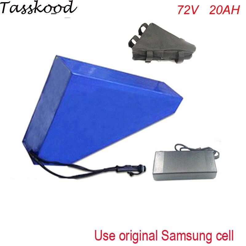 Profonda del ciclo 72v 20ah Pacco Batterie Agli ioni di Potente 72v 2500w Triangolo Batteria eBike con il triangolo borsa e caricatore Per Il cellulare Samsung