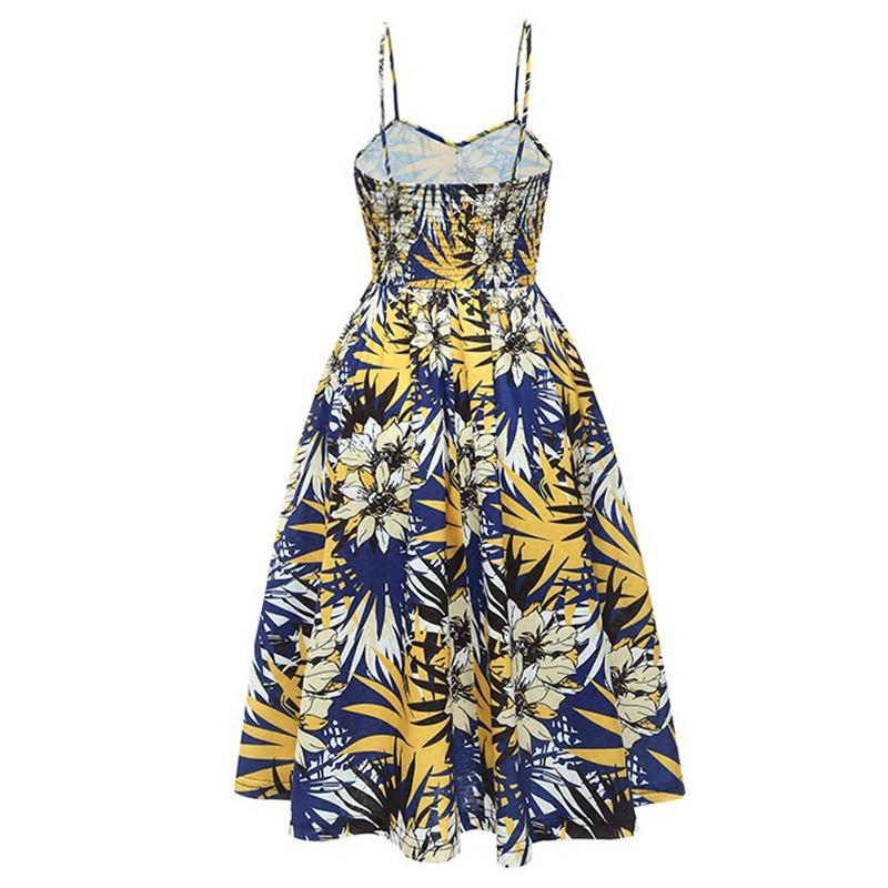 aadb1cc0de Boho Floral Print Summer Dress Women Tube Top Spaghetti Strap Midi Dresses  Female Backless Single-breasted Sexy Dress