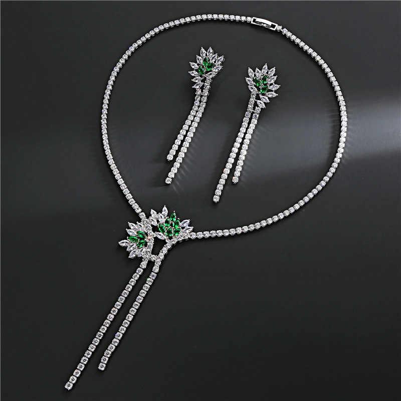 Weibliche Mode-Schmuck Halskette Set Ohrringe Baumeln Silber Überzogene Glänzende CZ Quaste Ohrringe Hochzeit Braut Schmuck Set