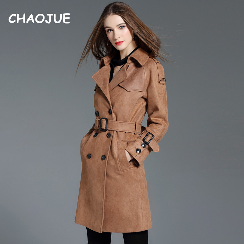 CHAOJUE Brand Suede   Trench   For Women 2018 Autumn/Winter New Fashion Vintage Brown Coat Ladies Double Breasted Pea Coat Sales