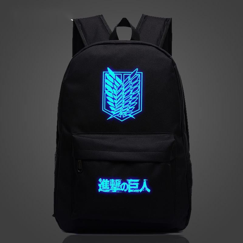 Cosplaylegend Attack on Titan School Bags For Teenagers Mens Backpack Night Lights bag ...