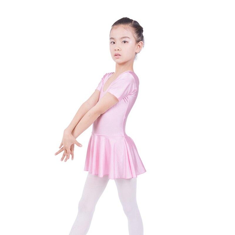 New Arrival Short Sleeved Spandex Gymnastics Leotard For Girls Ballet Dance Latin Dance Dress Clothing Kids Dance Wear 3 Colours