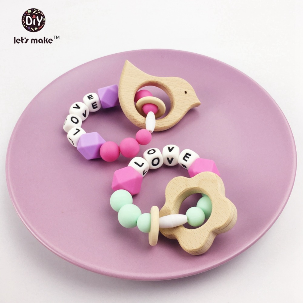 Let's make Wood Teething Bird And Flower Beech Wood Enlglish Letters LOVE Silicone Beads Sweet Mint Baby Teether Crib Toys