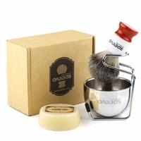 Anbbas Shaving Brush Set Badger Bristles Brush Goat Milk Soap Stainless Steel Brush Holder and Soap Bowl for Men Manual Shaving