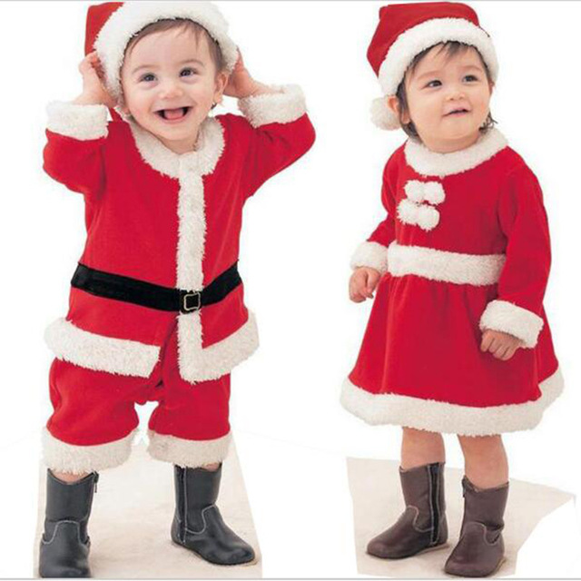 9e80c63f9 Newborn Baby Christmas Clothes Baby Boy Romper Fleece Santa Claus Baby Girl  Dress +Hat Suit Infant New Year Party Clothing